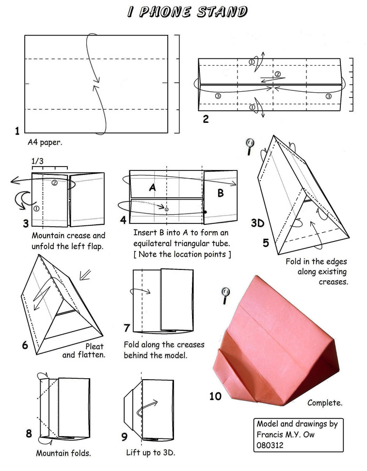 Origami Photo Stand Folding Instructions | 970x757